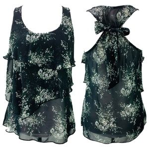 6 Degrees Black Sheer Floral Ruffle Bow Back Top S